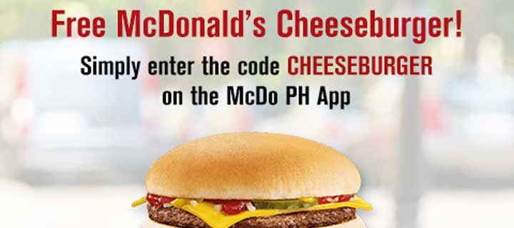 Enjoy a FREE Cheeseburger coupon by downloading the McDo PH App