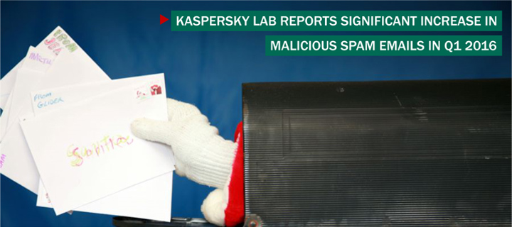 Kaspersky Lab Reports Significant Increase in Malicious Spam Emails in Q1 2016