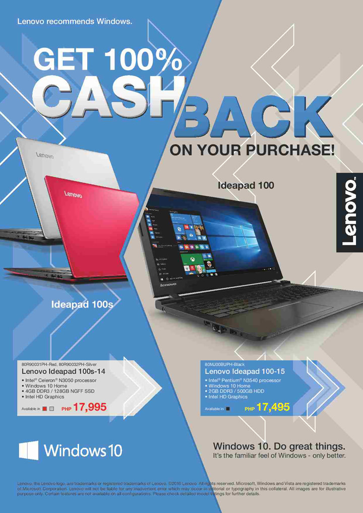 Lenovo this June – gadget sale up to 70% off, cash back program for ideapad buyers, Accidental Damage Protection program launched