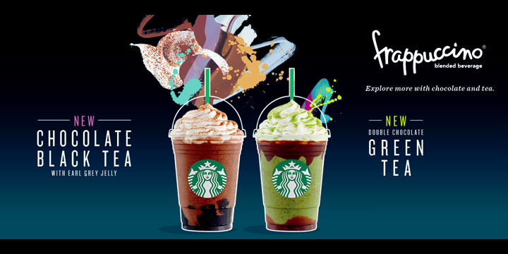 Starbucks offers two new frappuccinos – Chocolate Black Tea with Earl Grey Jelly and Double Chocolate Green Tea