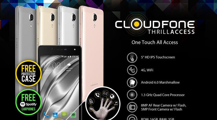 CloudFone Thrill Access – metal back cover, fingerprint sensor, selfie camera with flash, for only P4,999