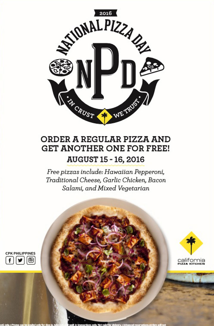California Pizza Kitchen, National Pizza Day 2016