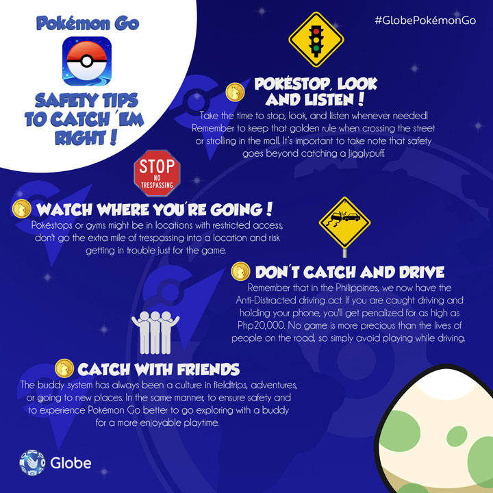 Pokemon Go, Safety Tips