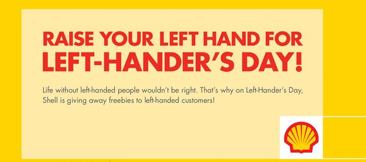 Shell treats left-handed motorists on International Left-hander's Day