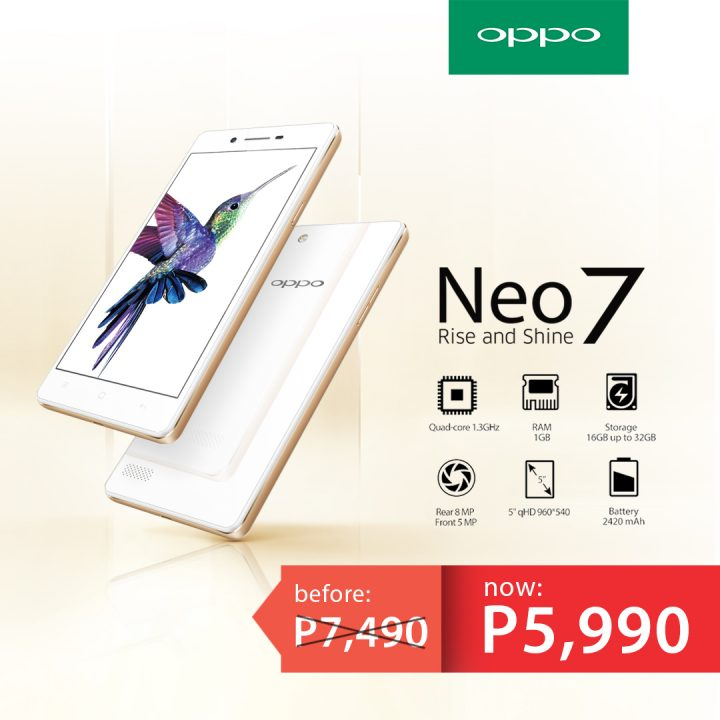 OPPO Neo 7 Price Drop – from P7490 to P5990