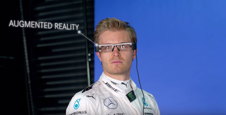 Epson introduces augmented reality smart glass technology for the first time at the Singapore night race to Epson guests in the MERCEDES AMG PETRONAS Formula OneTM Team Garage