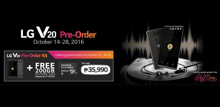 LG V20 Pre-Order Promo includes a FREE 200GB microSD card worth P10,000