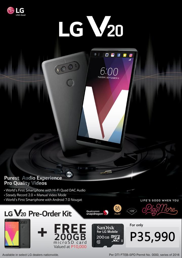 LG V20 Pre-order Promo, LG V20 Price Philippines