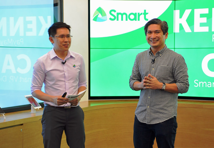 Carlo Endaya, Smart Head for Digital Products and Marketing Communications, and Kenneth Palacios, PayMaya VP and Head for International Partners, announce the partnership between Smart and PayMaya to introduce Smart Mastercard, which Smart subscribers can conveniently use for their purchases while enjoying exciting perks.