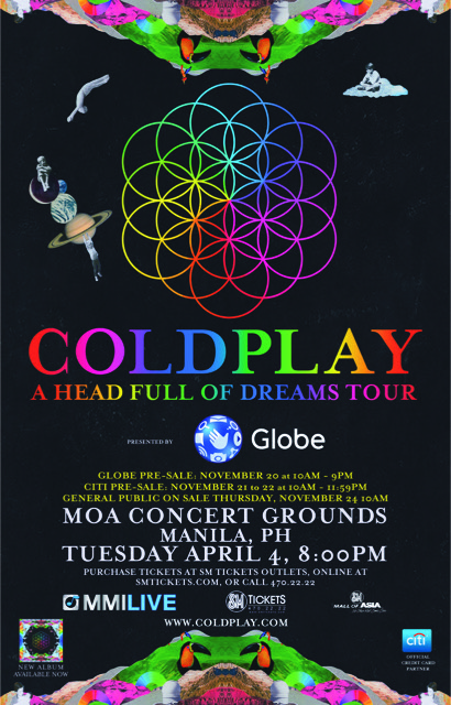 "Coldplay ""A Head Full of Dreams World Tour"", Globe, MOA Concert Grounds"
