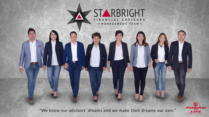 The Starbright Financial Advisors Management Team (left to right) Judd Sta Maria, Anna Blanco, Rogel Morales, Dhelle Datinguinoo, Nina Solomon, Jen Sta. Maria, Kat Lacdan and Red Pasetes.