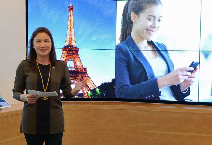 Tina Mariano, Smart World Head, unveils Chat Abroad and Smart World Travel WiFi, which allow travelers to easily connect to their friends and loved ones while traveling in 130 countries.