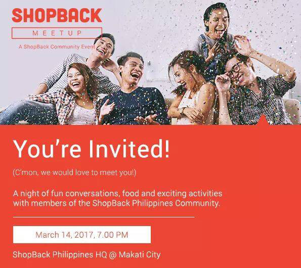 ShopBack PH invite to ShopBackers for the first ShopBack community meet up.