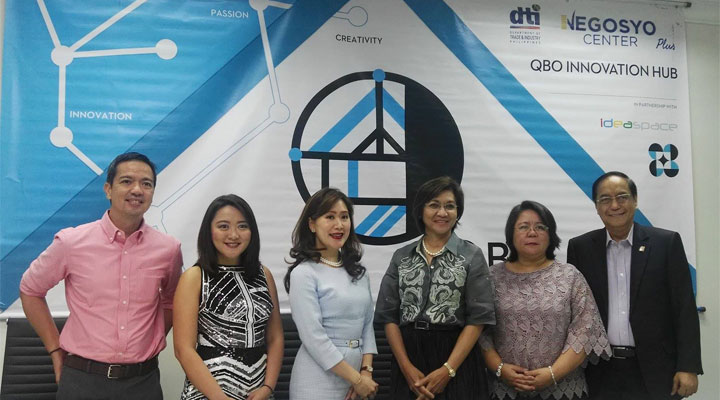 DOST-PCIEERD Executive Director CP David, QBO Executive Director Katrina Chan, JP Morgan Head of Corporate Communications Patricia Javier-Gutierrez, Department of Trade and Industry Usec. Nora Terrado, DOST Usec. Rowena Cristina Guevara, and DTI Export Marketing Bureau Director Senen Perlada during the official launch of the 1st QBO Innovation Hub in Makati.