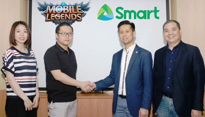 Smart and TNT have teamed up with Moonton, publisher of the hit mobile game Mobile Legends, to introduce awesome experiences, perks and treats to Filipino gamers. In the photo are (from left) Moonton Senior Marketing Manager Mandy Dai; Mobile Legends Publishing Director Cheng Xu; Smart Head for Product Management Mitch Padua; and Smart Head for Digital Products and Partnerships Harvey Libarnes.