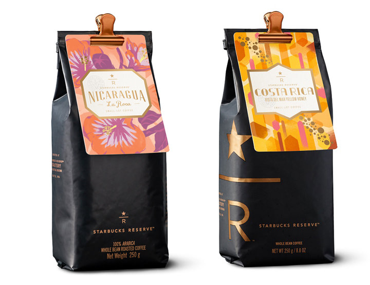 Starbucks Reserve Nicaragua La Roca and Starbucks Reserve Costa Rica Vista Del Mar Yellow Honey