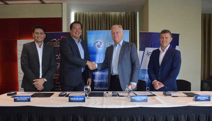 Cybersecurity Deal. IPC and Continent8 Technologies team up to provide world-class cybersecurity to Philippine enterprises amid the growing and evolving cyber threats today. From L-R: IPC Director for Marketing and Digital Innovation Niño Valmonte, IPC Chief Operating Officer David de Leon, Continent8 Co-Founder and Chief Executive Officer Michael Tobin, Continent8 Chief Development Officer Nick Nally.