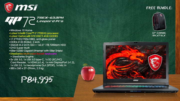 MSI Back to School Promo, MSI GP72