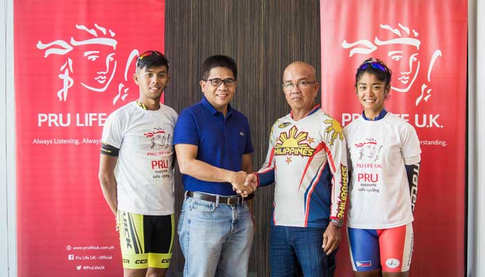 Pru Life UK President and Chief Executive Officer Antonio De Rosas (second from left) with National Cycling Coach Cesar Lombramonte (second from right) at the send-off for pro cyclists Oconer and Salamat