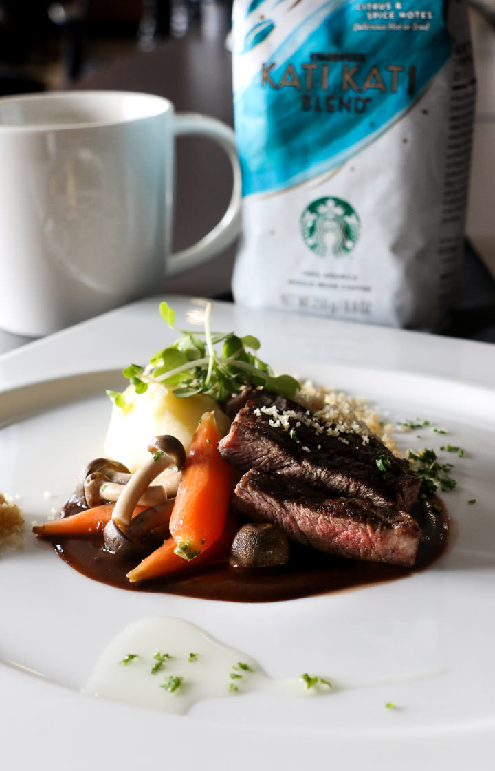 Starbucks Coffee College, Sous Vide Angus Beef with Almond Gouda Crumbs with Kati Kati Blend
