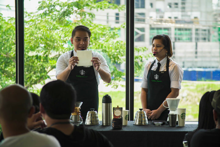 Starbucks Global Coffee Master Ces Ranillo and Ana Mendoza at Starbucks Coffee College 2017.