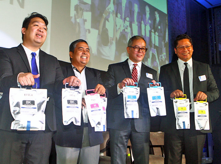 (L-R) Jester Cruz, Product Management Department Head, Epson Philippines; Roy Catana, Pre-Sales Engineer, Epson Philippines; Ed Bonoan, Senior General Manager for Marketing Division, Epson Philippines; Cris Sanchez, Sales Division Head, Epson Philippines.