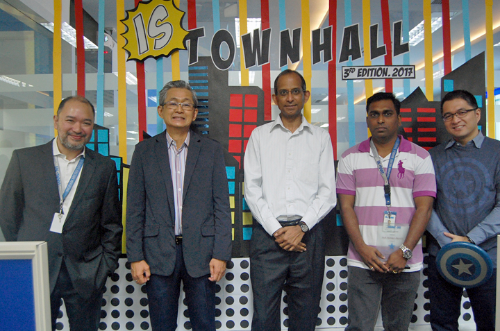 DICT Undersecretary Monchit Ibrahim (second to the left) joined Ingram Micro CIO Ramesh Nair (center) and Manila Center Information System directors AJ Enriquez (far left) and James Vibar (far right) to express his appreciation and support to Ingram Micro for actively taking part in accelerating the growth of the IT-BPM industry in the Philippines.