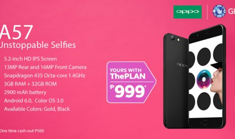 Get the OPPO A57 on Globe Postpaid ThePlan 999