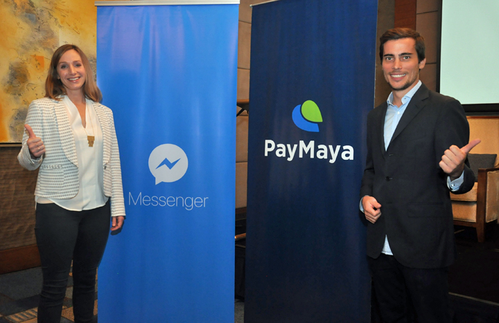 PayMaya partners with Facebook to launch PayMaya on Messenger. (Left to Righ:) Ginger Baker (Facebook Product Manager) and Paolo Azzola (COO of PayMaya Philippines).