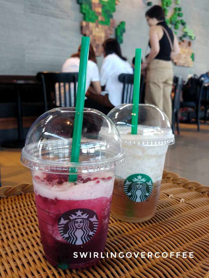 Starbucks Hibiscus Tea with Pomegranate Pearls, Starbucks Chamomile Tea with Kyoho Grape and Aloe
