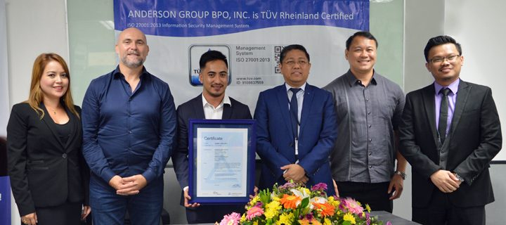 Anderson Group BPO Inc. ISO 27001:2013 Certification Awarding Ceremony