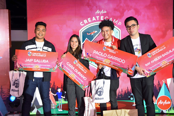 CreateCamp Finalists: Jaip Saluba of SPU Iloilo (3rd Runner-Up), Cara Durano of De Lasalle (1st Runner-Up), Paolo Garrido of MAPUA (Grand Winner), Ray Baguilat of Baguio University (2nd Runner-Up).