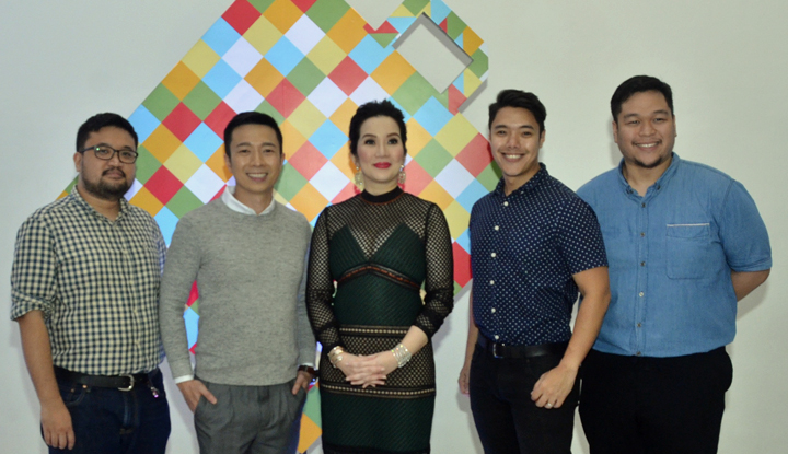 Kris Aquino poses with Walt Steven Young (second to the right) and the rest of the Adobomall Team who spearheaded this new online shopping innovation in the Philippines (from left to right): Emmanuel Yu, Joaquin Valdes, Jeremy Clemente, and James Tiu (not in photo)