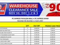 PC Express Warehouse Clearance Sale 2017 from Nov 30 to Dec 3