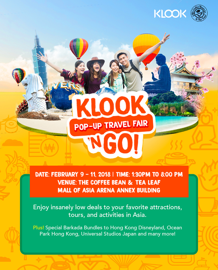 Score insane discounts for your next travel at Klook 'N Go, a pop-up travel fair.