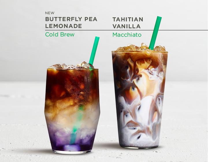 Starbucks Butterfly Pea Lemonade and Starbucks Tahitian Vanilla Macchiato