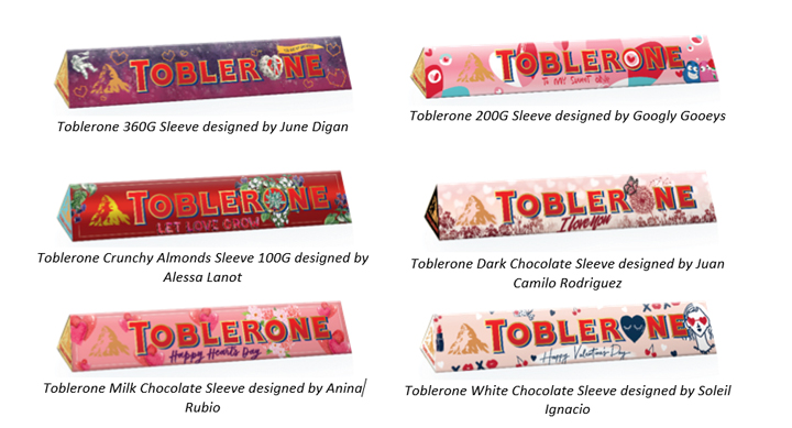 Toblerone packs designed by local artists