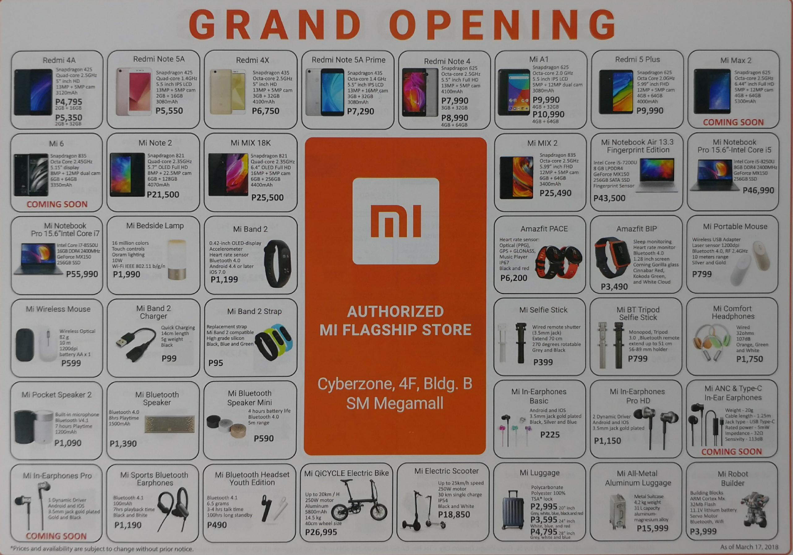 Mi Authorized Flagship Store Flier Front.
