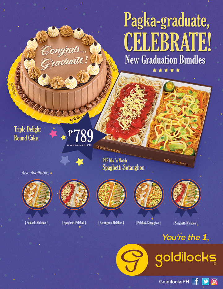 Goldilocks Graduation Bundles, Triple Delight Round Cake, Spaghetti Sotanghon