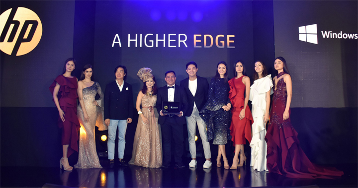 A Higher Edge, the launch even of the new HP Spectre x2, was hosted by fashion icon and socialite Tess Prieto-Valdes (fourth from left), and featured a special show by world-renowned designer Kenneth Cobonpue (third from left) and fashion designer Michael Leyva (fifth from right). Holding the new Spectre x2 in the photo is HP Philippines Business Unit Manager for PC Kris Seville (fifth from left).