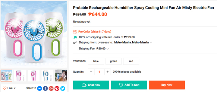 Get this Rechargeable-Mist-Fan from Shopee, download the Shopee app