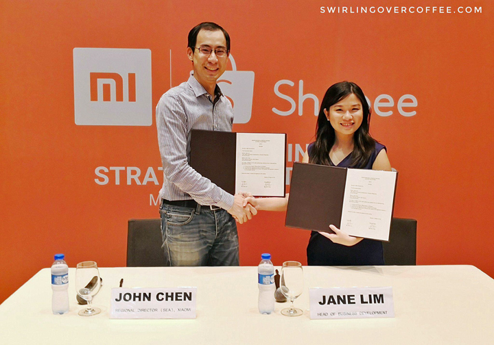 Xiaomi Regional Director John Chen, and Shopee Head of Business Development Jane Lim during the Shopee and Xiaomi MOU signing.