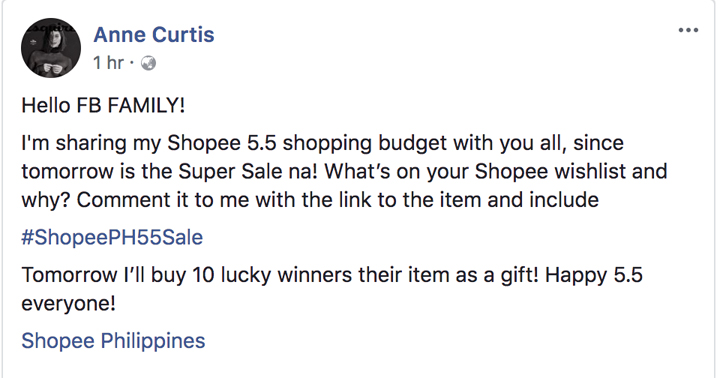 Anne Curtis will grant 10 lucky fans their wish this 5.5 Shopee Super Sale