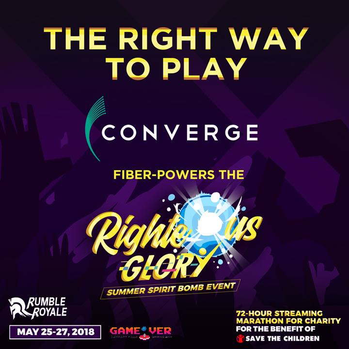 Righteous Glory Summer Spirit Bomb is a 72-hour Streaming Marathon for Charity that will be powered by the Pure Fiber Internet of CONVERGE.