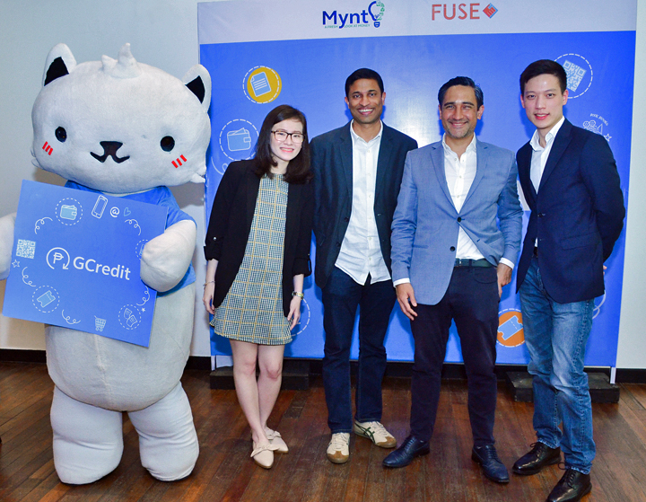 GCredit lets you borrow GCash funds for shopping even when your GCash wallet is empty. (L-R) GCat, Kim Seng (Fuse Head of Lending), Anthony Thomas (Mynt President and CEO), Jean Francois Darre (Mynt Chief Data and Risk Officer and CEO of Fuse Lending), and Myles Salud (Mynt Product Manager).