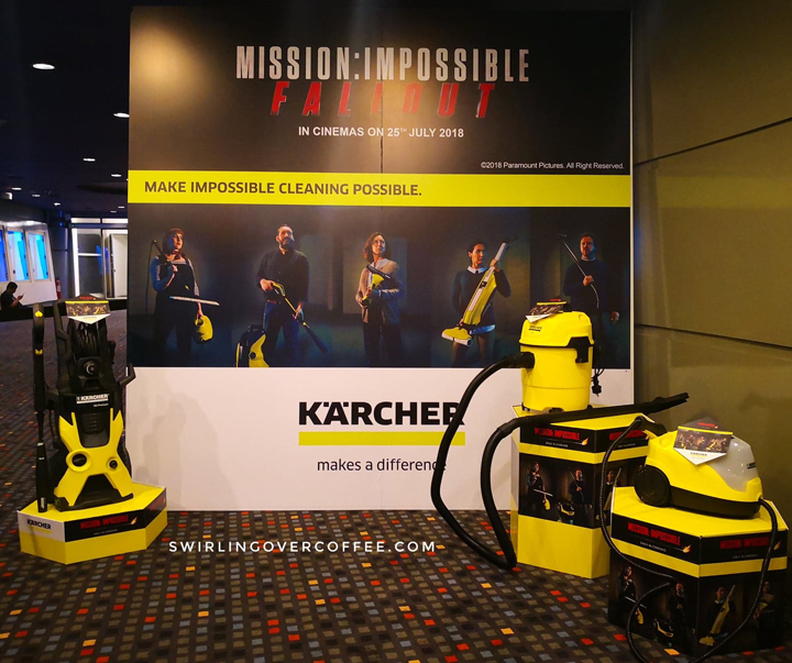 Kärcher K5 Premium High Pressure Washer, WD1 / MV1 Vacuum Cleaner Wet & Dry, and SC4 EasyFix Premium Steam Cleaner, on display at the Greenbelt Cinema 3, Makati City, screening of Mission: Impossible Fallout.