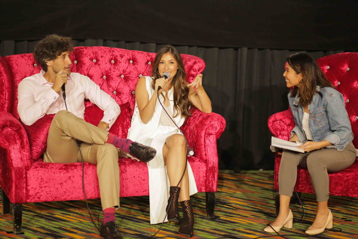 Nico Bolzico (left) and Solenn Heussaff (center) with event host at the media launch of Kenny Rogers Roasters Bacon Roast.