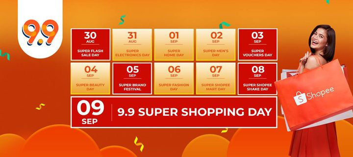 Shopee 9.9 Super Shopping Day happens from Aug 30 to Sep 9