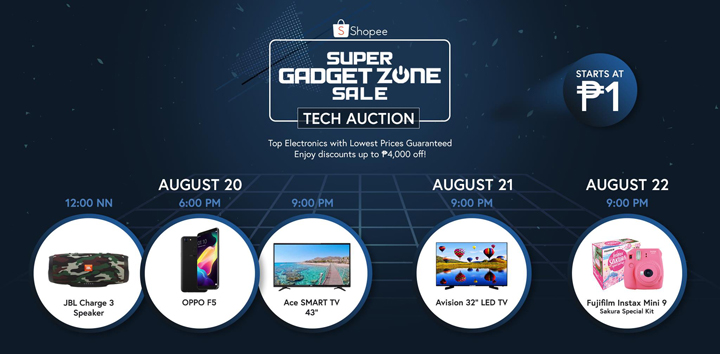 From Aug 20-22, enjoy lowest price discounts, flash sales, tech auctions, and more at the Shopee Gadget Zone.