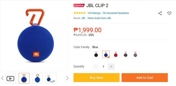 JBL Clip 2 price at Lazada